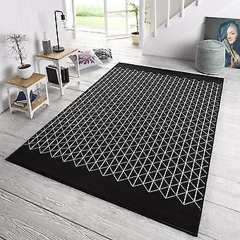 Designer velour carpet twist black cream