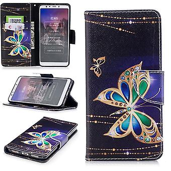 For Huawei Y6 2018 synthetic leather pocket wallet motif 32 protection sleeve case cover pouch new