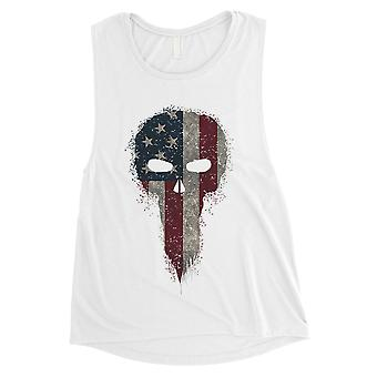 Vintage American Skull Womens White Cute 4th of July Muscle Top