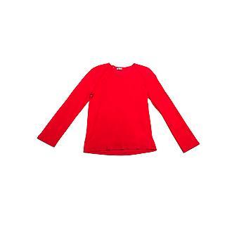 Dior kvinnors bomull Scoop Neck långärmad tröja röd