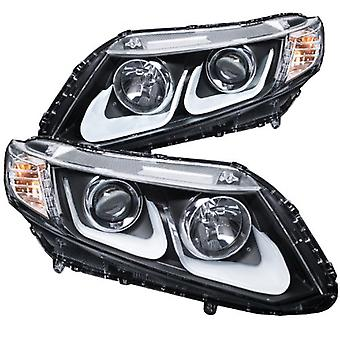 AnzoUSA 121479 Black/Clear/Amber Bar Style Projector Headlight for Honda Civic