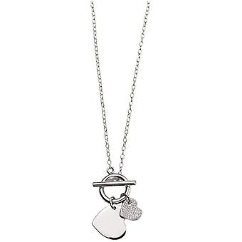 Beginnings Cubic Zirconia Pave Double Heart T Bar Necklace - Silver/Clear