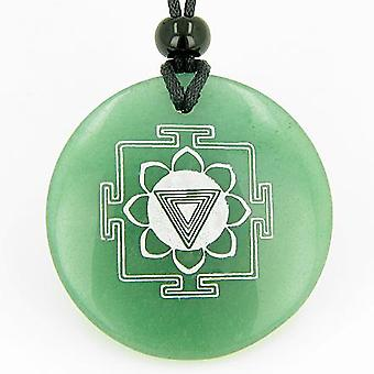 Kali Yantra Amulet Green Aventurine Magic Gemstone Circle Good Luck Powers Pendant Necklace