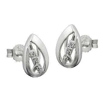 Silver earrings frosted plug silver cubic zirconia earrings 925 sterling silver