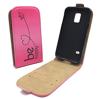 Mobile phone case pouch for mobile Samsung Galaxy S5 active be happy pink