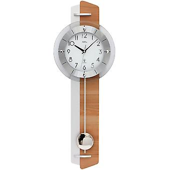 Wall clock with pendulum radio core beech / aluminum application wooden rear wall