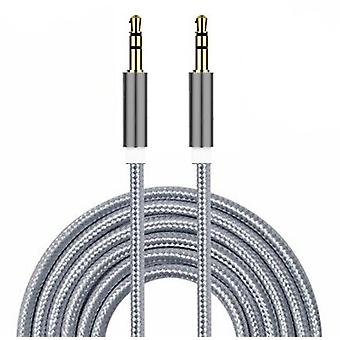 ONX3 (Silver) Gold Plated Nylon Material Braided 3.5mm Jack To Jack Connection Aux Auxiliary Audio Cable [ 2 METER ] For  Vivo V9