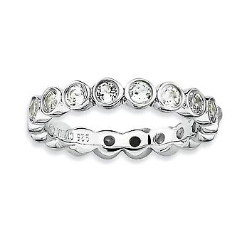 Sterling Silver Bezel Polished Patterned Rhodium-plated Stackable Expressions White Topaz Ring - Ring Size: 5 to 10