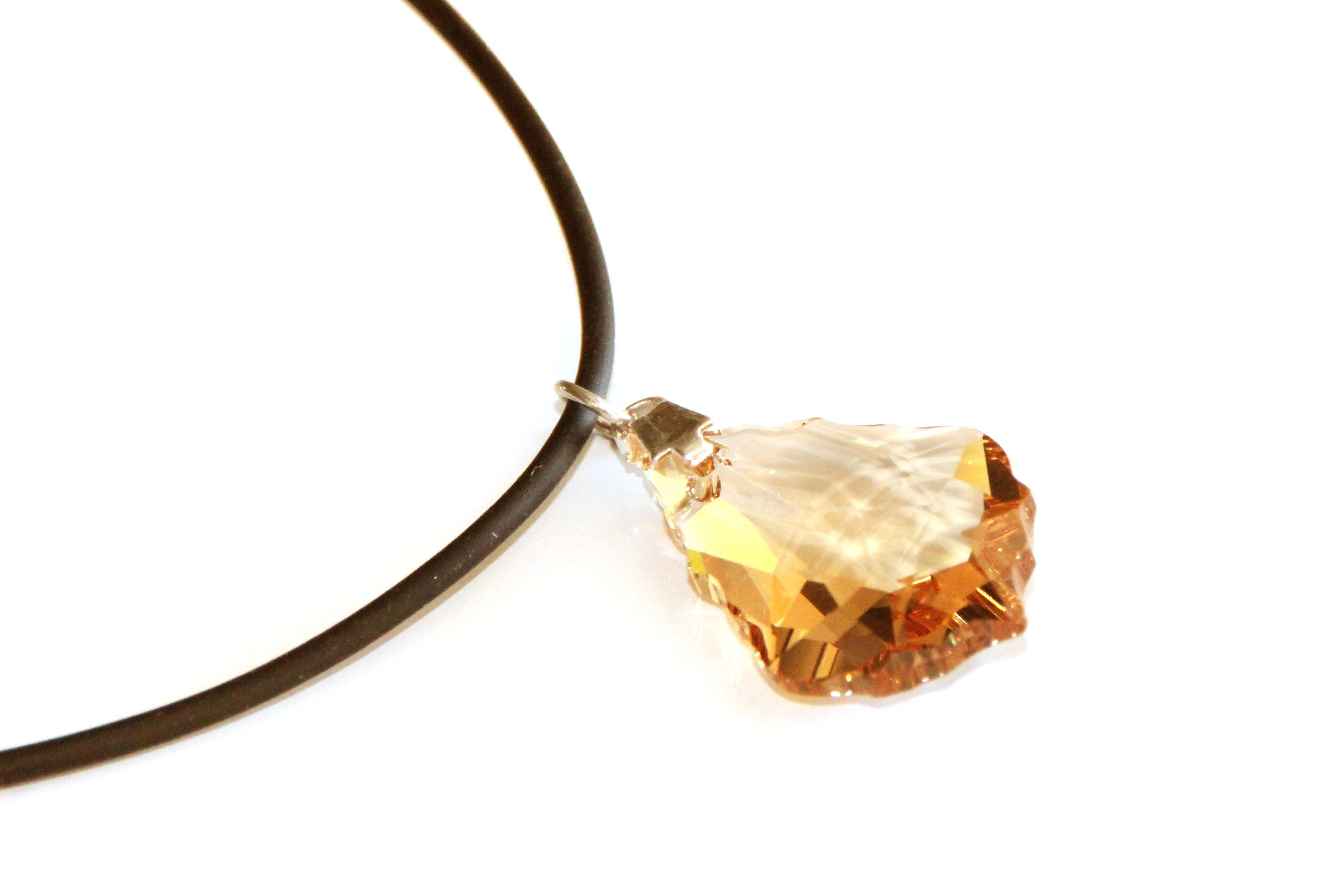 Waooh - Jewelry - Swarovski / pendant tear amber and cord rubber - wholesale