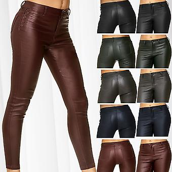 Womens Pants Leather Optics Biker Treggings Synthetic Skinny Stretch Trousers