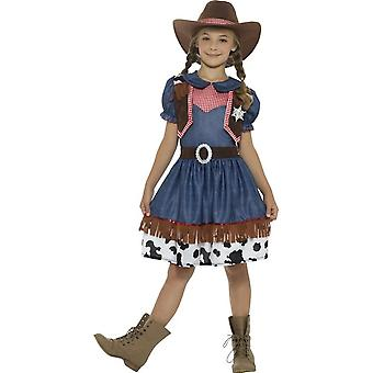 Texan Cowgirl Costume, Blue, with Dress, Attached Waistcoat & Hat
