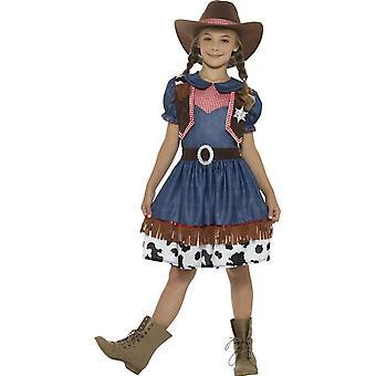 Costume Cowgirl texano, blu, con il vestito, attaccato gilet & cappello