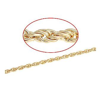 5m x Golden Plated Iron Alloy 3.5 x 5mm Closed Braided Link Chain CH2380