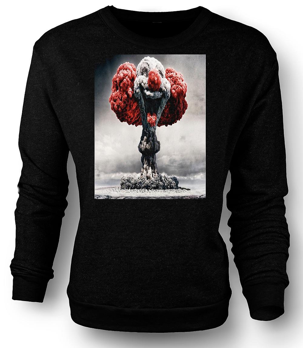 Mens Sweatshirt Nuclear Explosion Clown Face