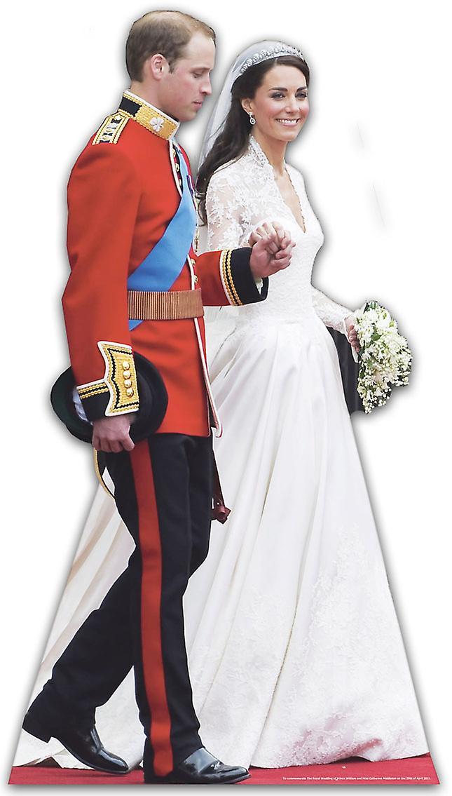 Príncipe William y Katherine Middleton - recorte de cartón de tamaño natural / pie (boda real)