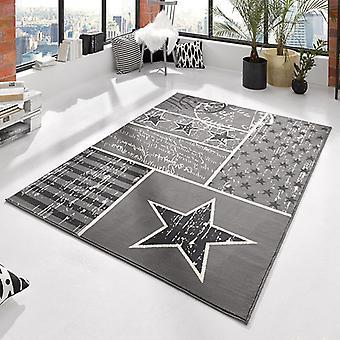 Design velour carpet patchwork stars Grau 140 x 200 cm | 102397