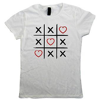 Valentine Tic Tac Toe, hjerter og kyss, kvinner T-skjorte