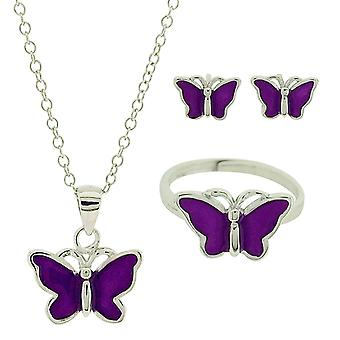 Jo For Girls Sterling Silver Purple Butterfly Stud Earring, Ring & Necklace Set
