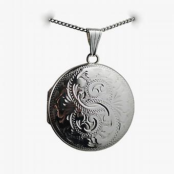 Silver 29mm hand engraved round Locket with a curb Chain 18 inches
