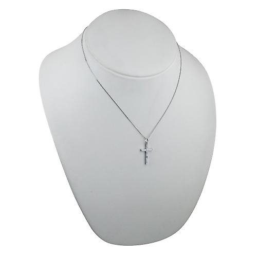 9ct white gold 25x15mm hand engraved solid block Cross with a curb chain