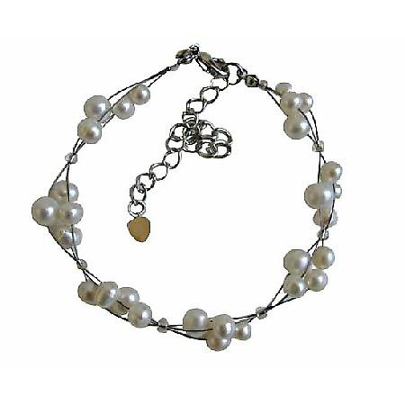 Freshwater Pearls Off White Pearls 3 Stranded Wire Bracelet