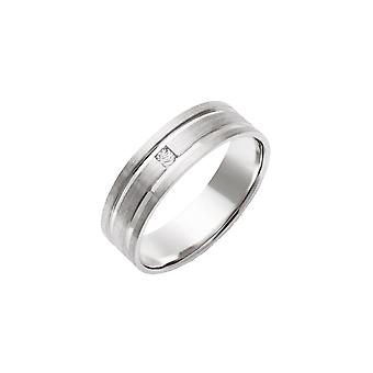 Stjärniga bröllop ringar 9ct vitguld 0,05 Carat Diamond Matt med polerade spår 6mm Ring