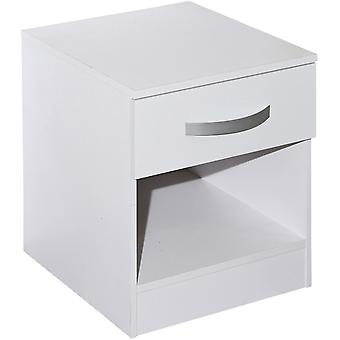 Lucie - Simple Modern Bedside Cabinet / 1 Drawer / 1 Shelf Storage Table - White
