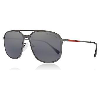 Prada Sport PS53TS 7CQ-2F2 Matte Gunmetal PS53TS Square Pilot Sunglasses Polarised Lens Category 3 Lens Mirrored Size 56mm