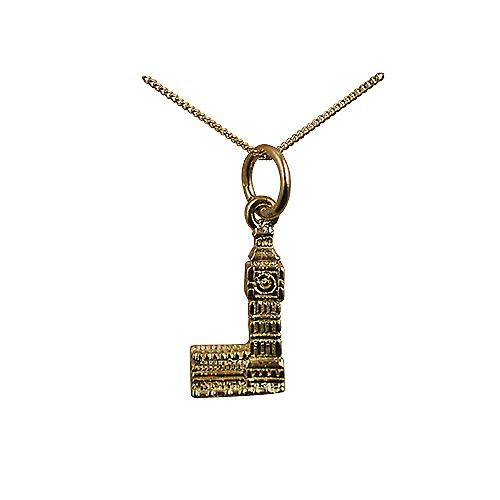9ct Gold 15x8mm Big Ben Pendant with a curb Chain 16 inches Only Suitable for Children