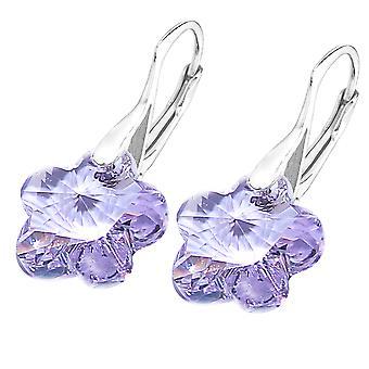 Ah! Smycken sterling silver violetta kristaller från Swarovski blomma örhängen, stämplad 925