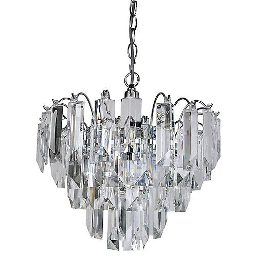Searchlight 6718CC Sigma 4 Light Chrome Pendant With Clear Acrylic Prisms