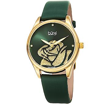 Burgi Women's Quartz  Rose Cut-Out Dial with Glitter Powder Satin Over Leather Strap Watch BUR189GN