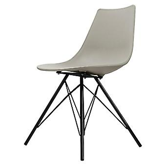 Fusion Living Iconic Light Grey Plastic Dining Chair With Black Metal Legs Fusion Living Iconic Light Grey Plastic Dining Chair With Black Metal Legs Fusion Living