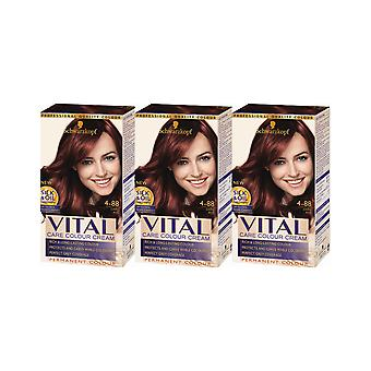 Schwarzkopf Vital Colors 4-88 Dark Red Permanent Hair Colour Dye x 3 Pack