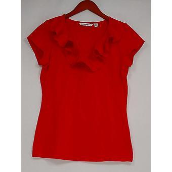 Isaac Mizrahi Live! Vrouwen ' s top korte mouw Ruffle front rood A233885