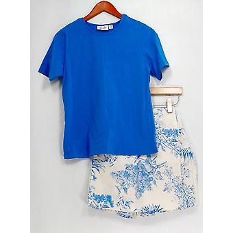 Denim & Co. Set Stretch T-shirt & Stretch Skort Classic Blue A10855