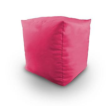 Pink Cotton Twill Bean Cube Footstool Pouffe