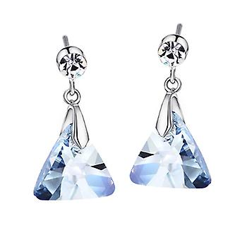 Platinum Plated Ice Blue Triangle Drop Earrings