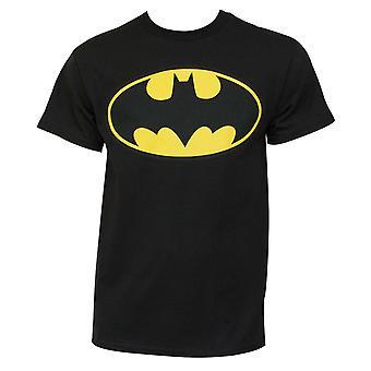 Batman Classic Yellow Bat Logo Graphic Men's Black T-Shirt