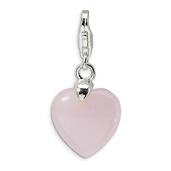 925 Sterling Silver Rhodium-plated Fancy Lobster Closure Rose Quartz Heart With Lobster Clasp Charm - Measures 28x13mm