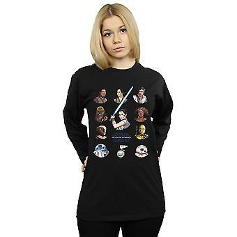 Star Wars der Aufstieg der Skywalker Widerstand Charakter Lineup langärmeligen T-Shirt Frauen's Freund Fit