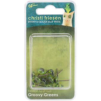 Christi Friesen Glass Eyes 8mm 10/Pkg-Groovy Green CF723