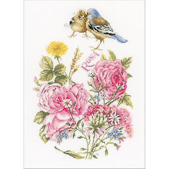LanArte Finches On Cotton Counted Cross Stitch Kit-10.75
