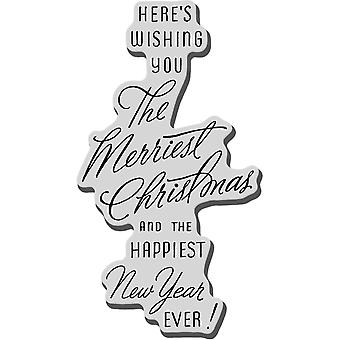 Stampendous Christmas Cling Rubber Stamp Merriest Wish Crm276