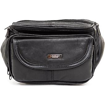 Large Soft Nappa Leather Bum Bag / Waist Bag with Multiple Pockets