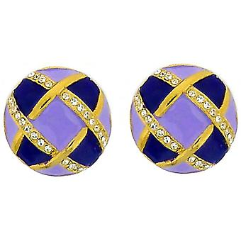 Clip On Earrings Store Lilac & Purple Enamel Gold Plated & Swarovski Crystal But
