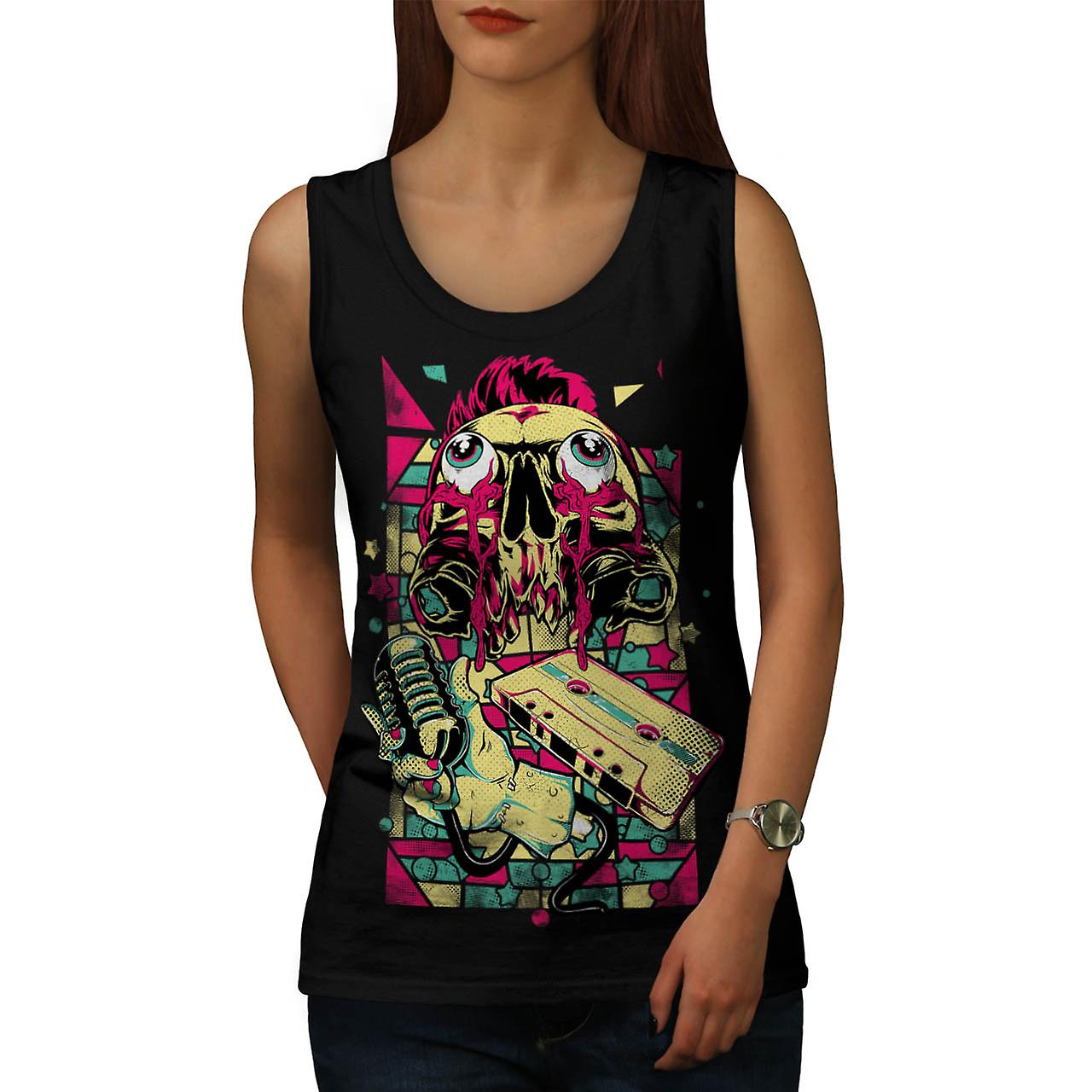 Music Zombie Mic Fashion Mic Music Women Black Tank Top | Wellcoda