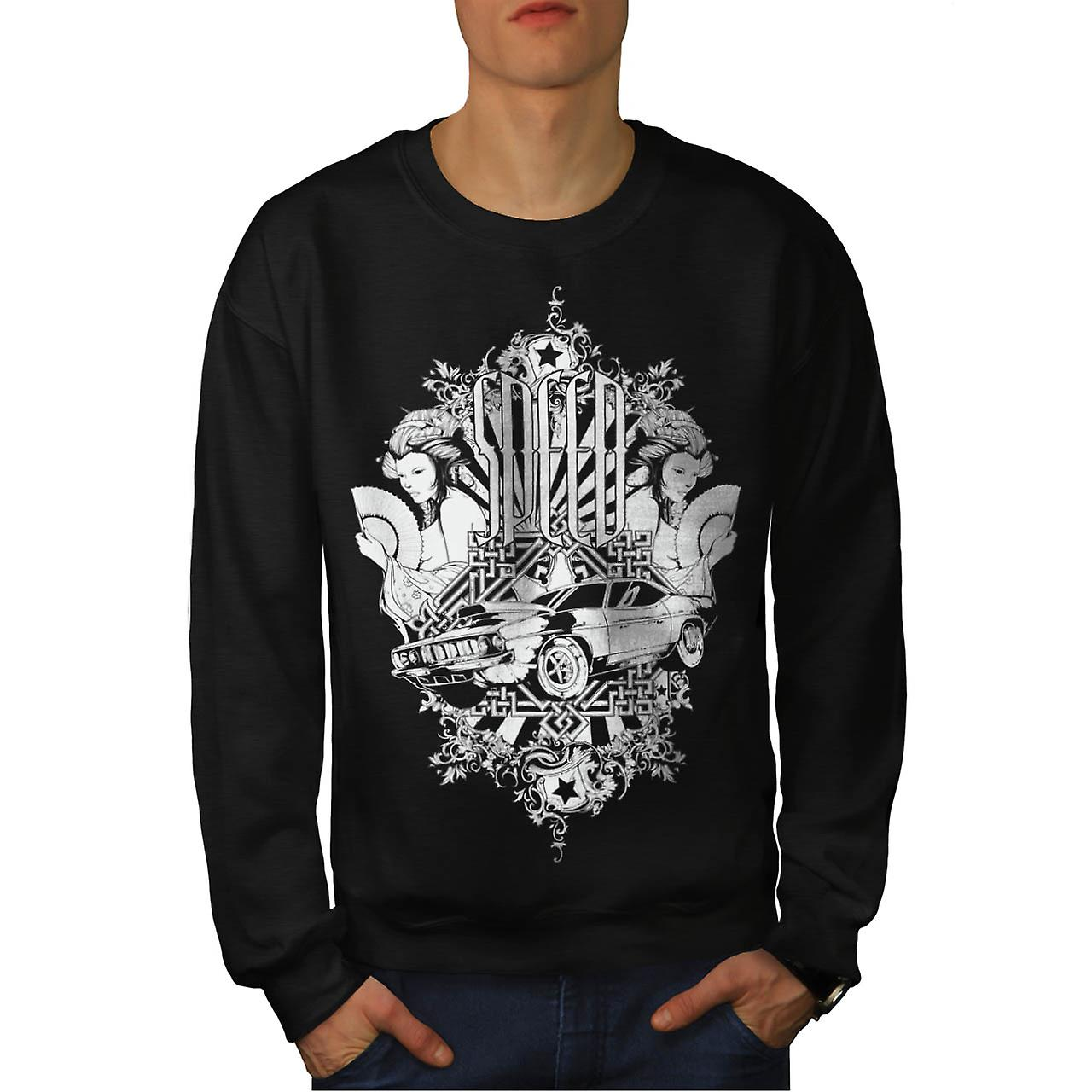 Auto Mobile Speed Car Race Motor Men Black Sweatshirt | Wellcoda