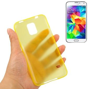 Beschermende cover case ultra dunne 0.3 mm voor mobiele Samsung Galaxy S5 / S5 neo geel transparant