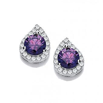 Cavendish French Silver and Amethyst Cubic Zirconia Teardrop Twist Earrings